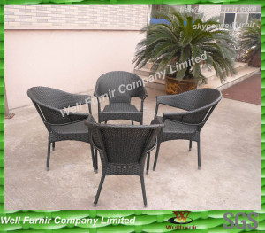 Modern 5pcs PE Rattan Furniture For Outdoor Conversation WF-0784