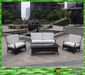 Aluminum PE Rattan Conversation Set 4pcs set, with White Cushions, Wooden arm Chair WF-0785.2