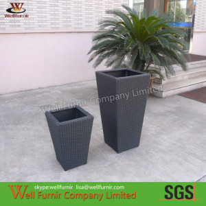 All Weather Waterproof Wicker Flower Pots For Cafe Balcony WF-0894.2