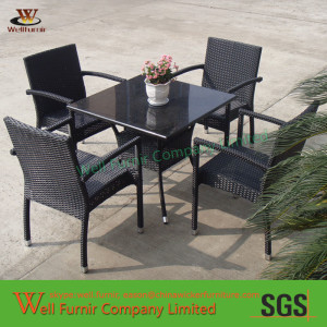 garden wicker dinning set with table and 4pcs chairs