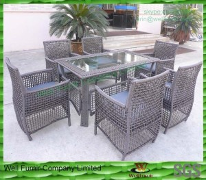 alum frame wicker dinning sets for gardan / seaside /poolside