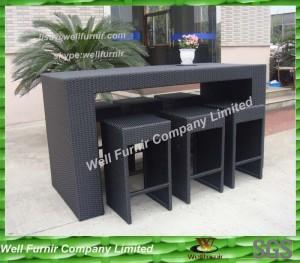 Hand-weaved UV resistantf Flat PE Wicker Bar Set With Alum Frame