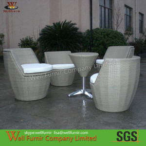 5pcs Poolside Stackable Patio Set , Rattan Garden Furniture