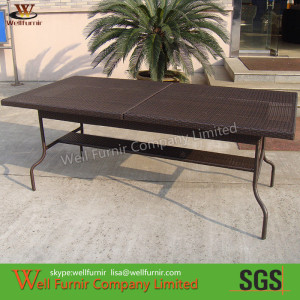 Restaurant Rectangle Rattan Dining Tables , Outdoor Rattan Dining Set