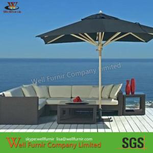 Leisure Seaside Wicker Sofa Set With Waterproof Cushions
