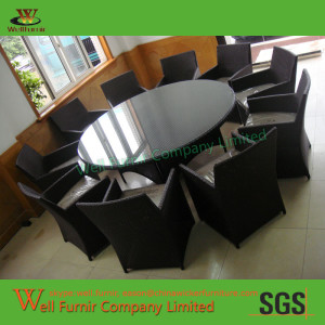 Well Furnir International Resin Wicker Aluminum Big Round Dining Set with10 Chairs WF-0786
