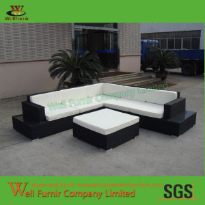 Well Furnir Sectional Cayman Outdoor PE Rattan Sofa Set with White Cushion WF-0805