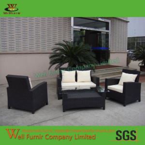 Well Furnir Puerta 4-piece KD Black Outdoor Wicker Sofa Set WF-0793
