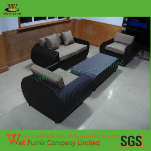 Well Furnir St. Lucia 4-Piece Resin Wicker Rattan Aluminum Settee Set with Corded Cushions (WF-0803 sofa set)