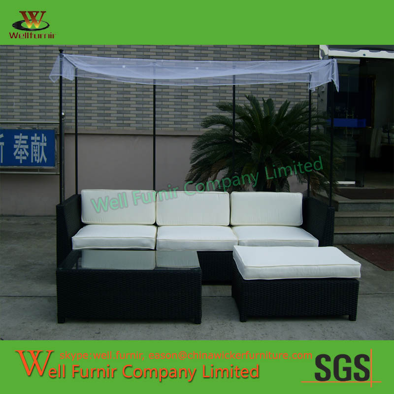 Miami Beach 3 Piece Outdoor Wicker Seating Set With Shadow