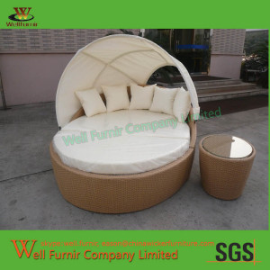 Living Antigua Outdoor Day Bed Love Seat with Light Brown Wicker WF-0928