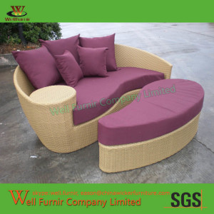 Well Furnir Design China Taiji Outdoor Daybed with Ottoman & Cushions WF-0929