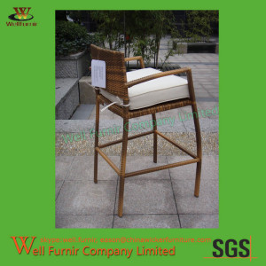 Hampton Bay Patio High Wicker Dining Chair with White Cushion WF-0986