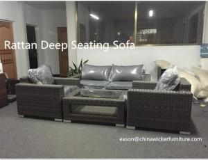 rattan deep seating sofa
