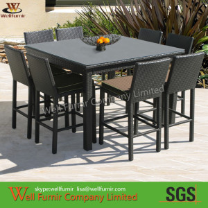 8 Seat 150cm Square Dining Set in Black Rattan
