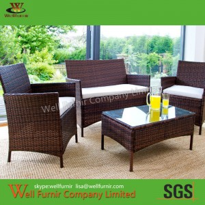 Rattan Wicker Conversation Set - Outdoor Chair, Rattan Table