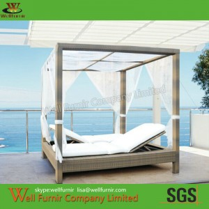 Outdoor Gazebo, Rattan Aluminum Gazebo, Wicker Woven Double Chaise Lounge